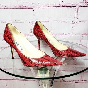 Jimmy Choo Anouk Red Snake Heels
